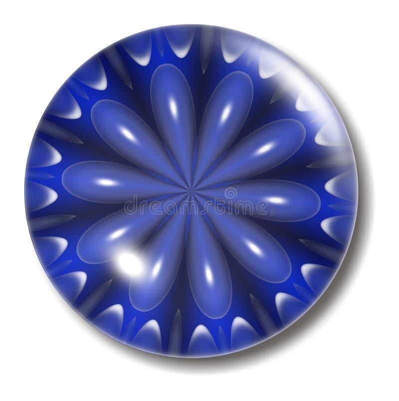 Esfera azul da tecla da flor ilustração stock