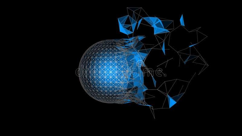 A esfera azul das partículas desintegra-se Elemento abstrato no fundo preto imagem de stock