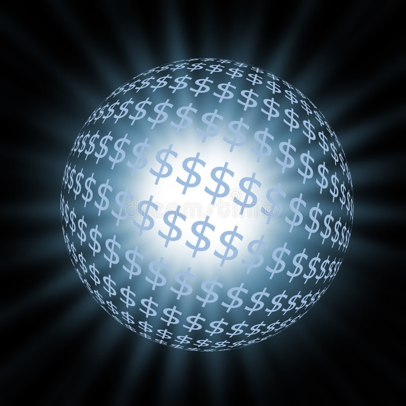 Esfera azul do dólar ilustração stock