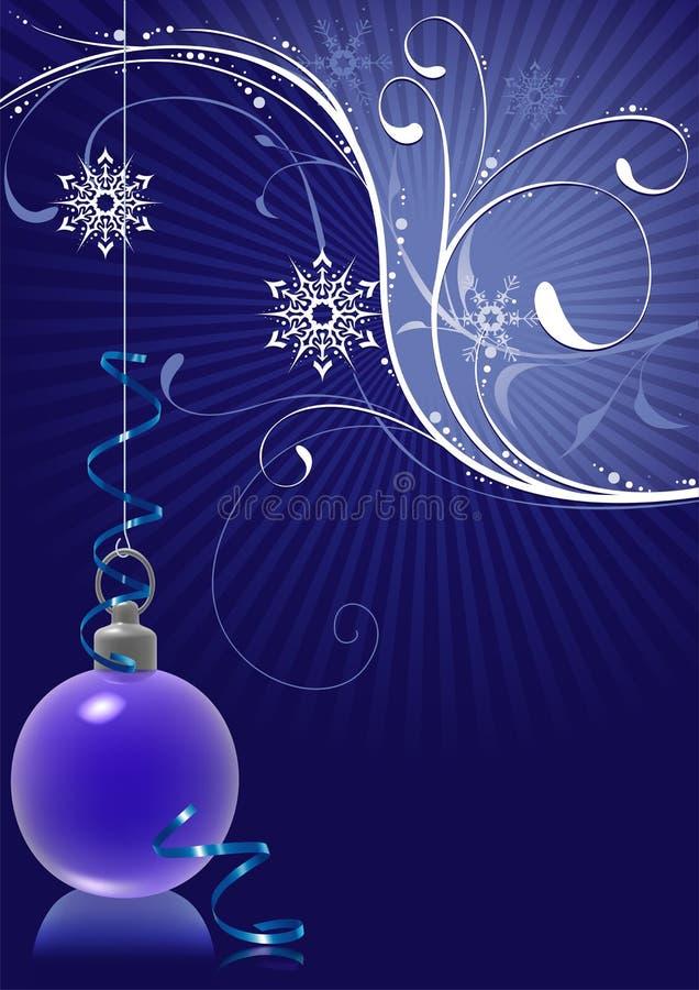 Esfera azul do Natal e floral nevado ilustração royalty free