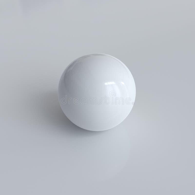 Esfera blanca fotorrealista con las sombras stock de ilustración