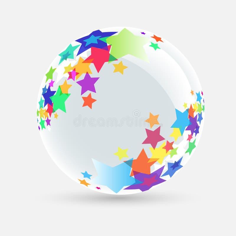 Esfera branca com estrela ilustração stock
