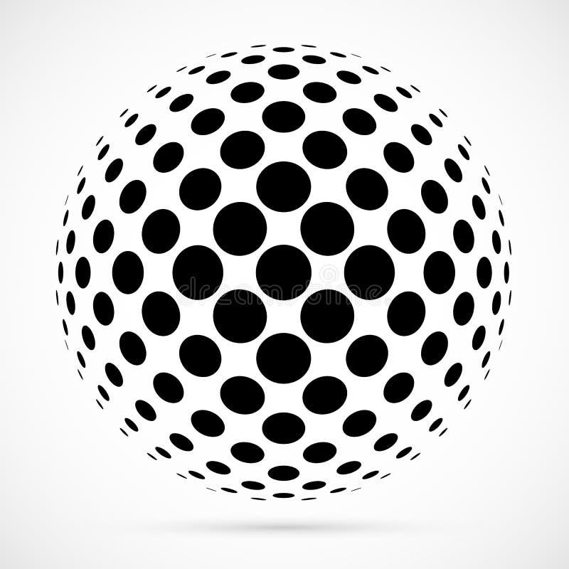 Esfera branca da reticulação do vetor 3D Fundo esférico pontilhado logo ilustração royalty free