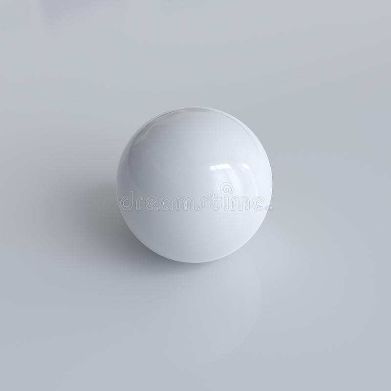 Esfera branca Photorealistic com sombras ilustração stock