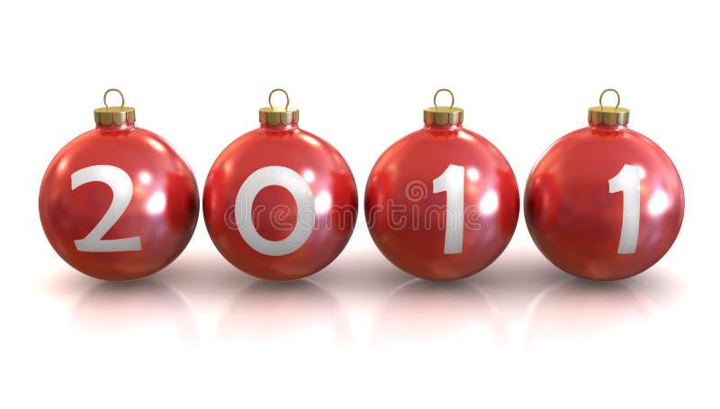 Esfera brilhante clássica vermelha dos chirstmas, ano novo 2011 ilustração royalty free