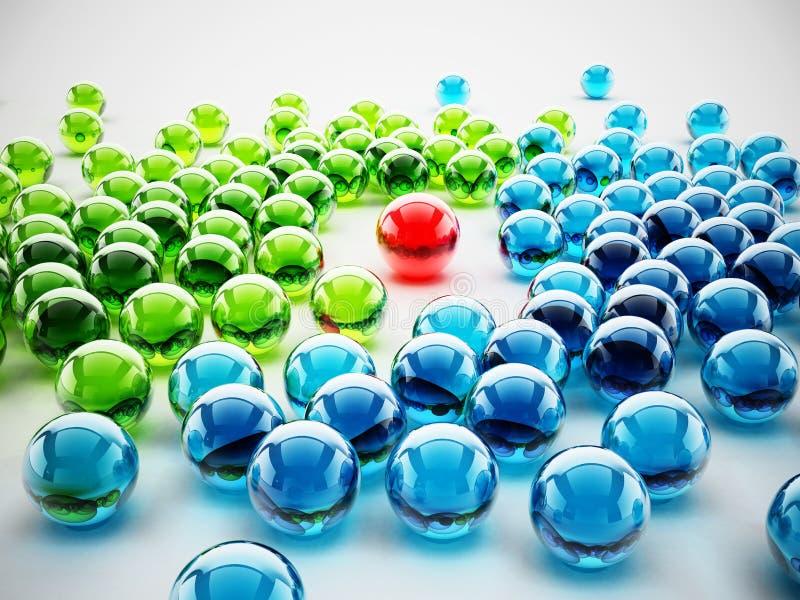 Esfera brilhante vermelha que está para fora entre esferas verdes e azuis ilustra??o 3D ilustração stock