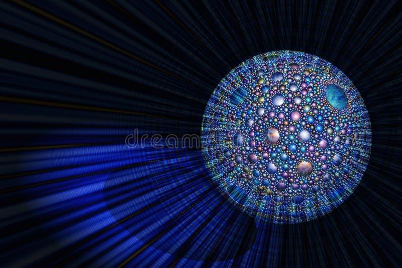 Esfera brillante de emisión con un modelo esférico ilustración del vector