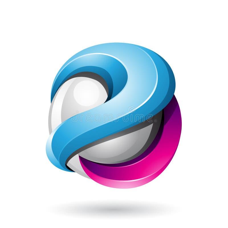 Esfera brillante metálica intrépida azul y magenta 3d aislada en un fondo blanco stock de ilustración