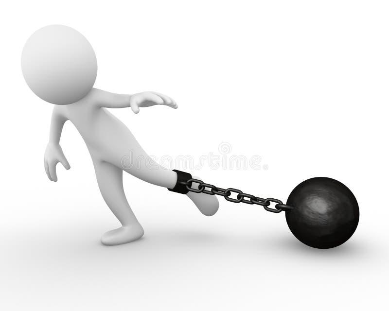 Esfera Chain anexada a um homem ilustração royalty free
