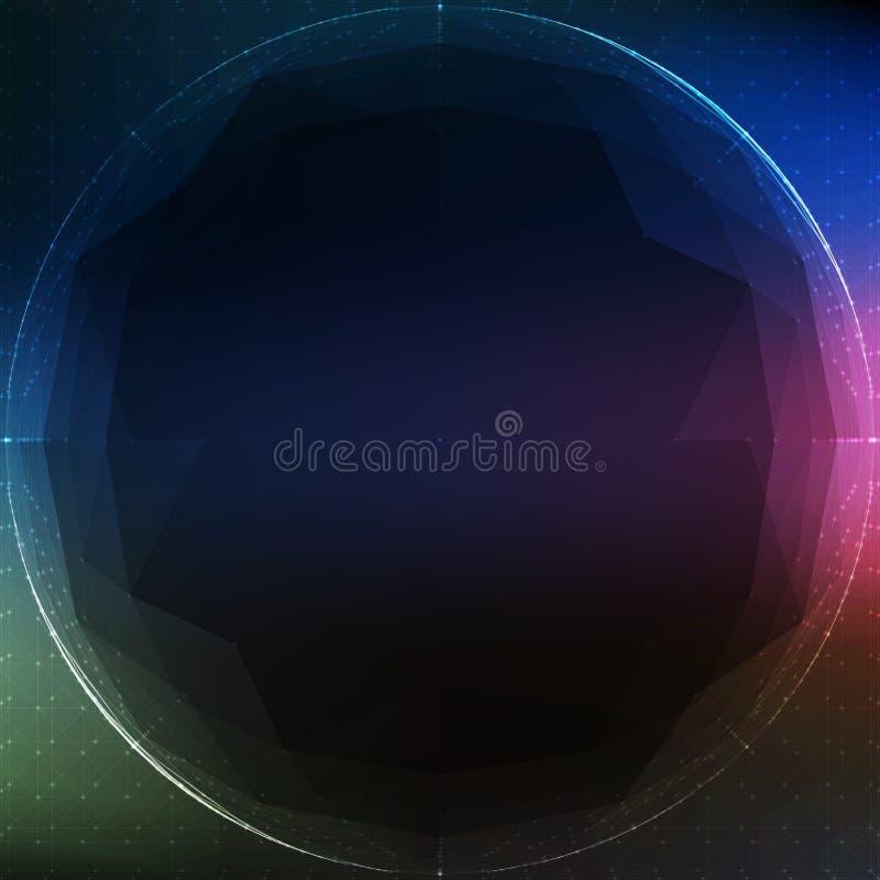 Esfera cibernética poligonal del vector abstracto Fondo esférico de la malla del triángulo stock de ilustración