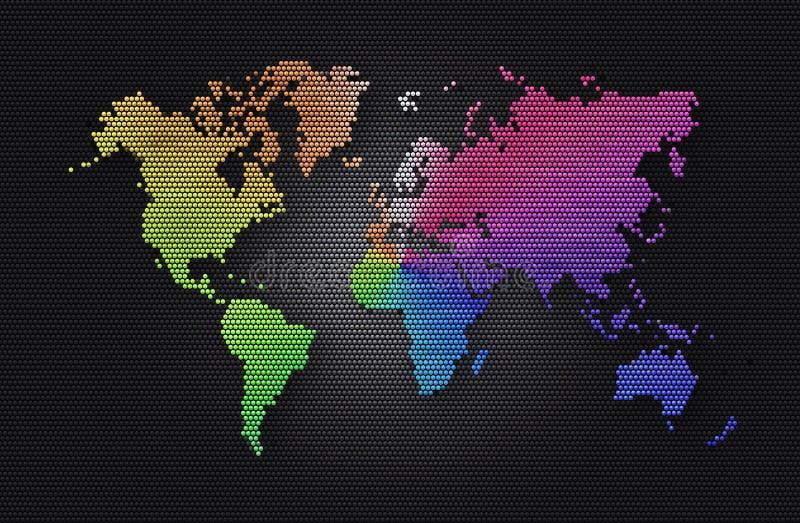 Esfera cinzenta escura do fundo abstrato com mapa do mundo do arco-íris ilustração royalty free