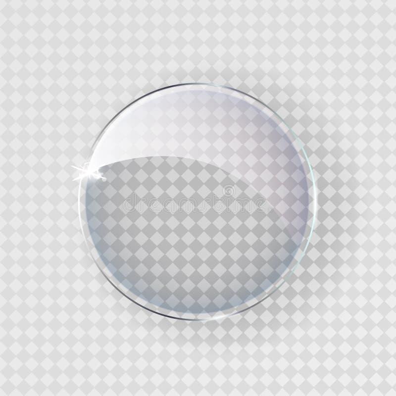 Esfera cinzenta transl?cida grande com sombra no fundo transparente ilustração royalty free