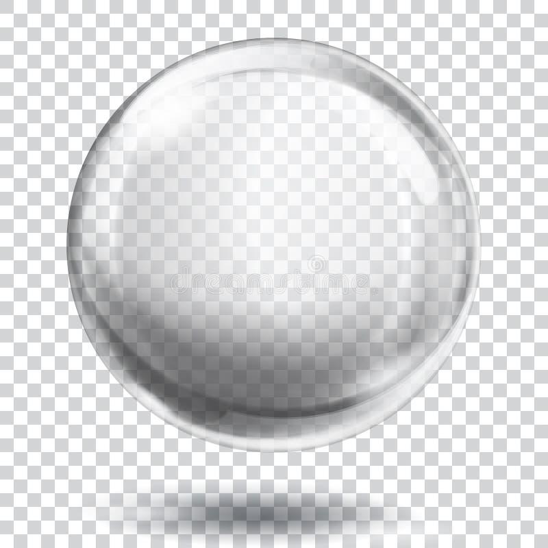 Esfera cinzenta transparente ilustração do vetor