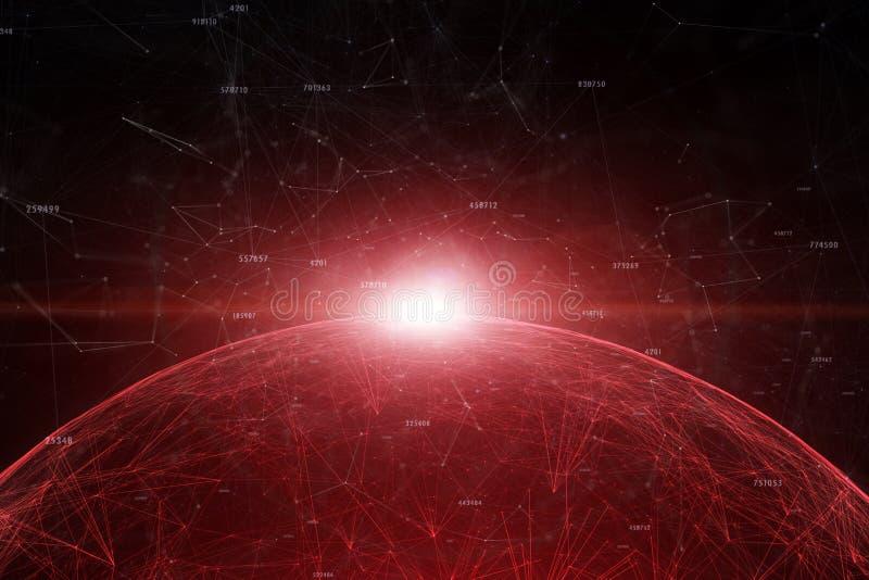 Esfera coloreada rojo oscuro abstracta de la red con números ilustración del vector