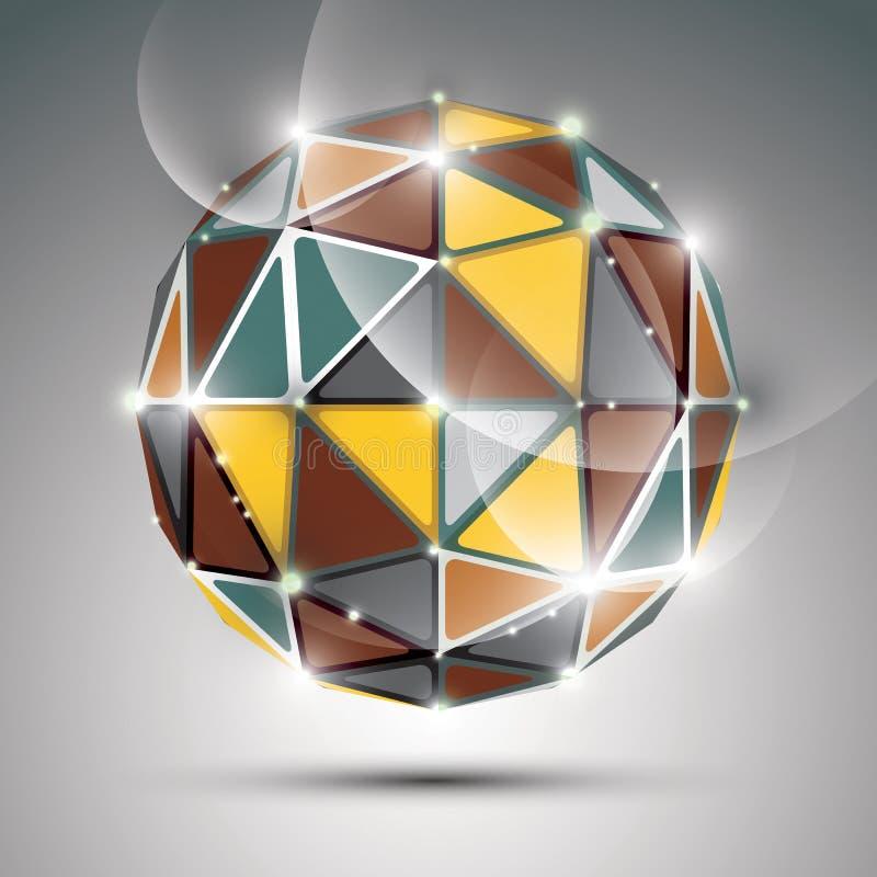 Esfera colorida abstrata com sparkles, preciou da cintilação 3D do metal ilustração do vetor