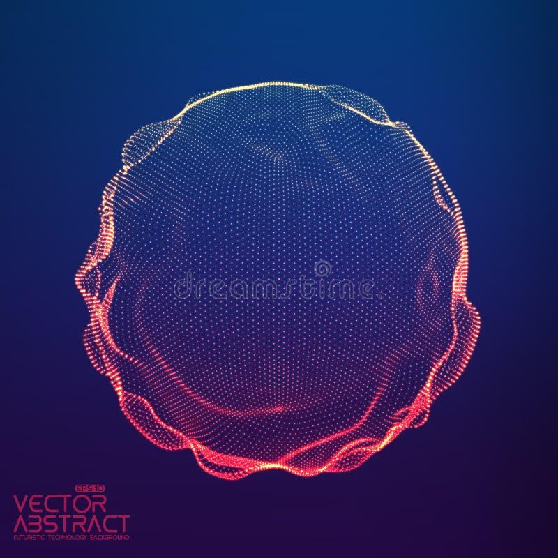 Esfera colorida da malha do vetor abstrato na obscuridade - fundo azul Cartão futurista do estilo ilustração stock