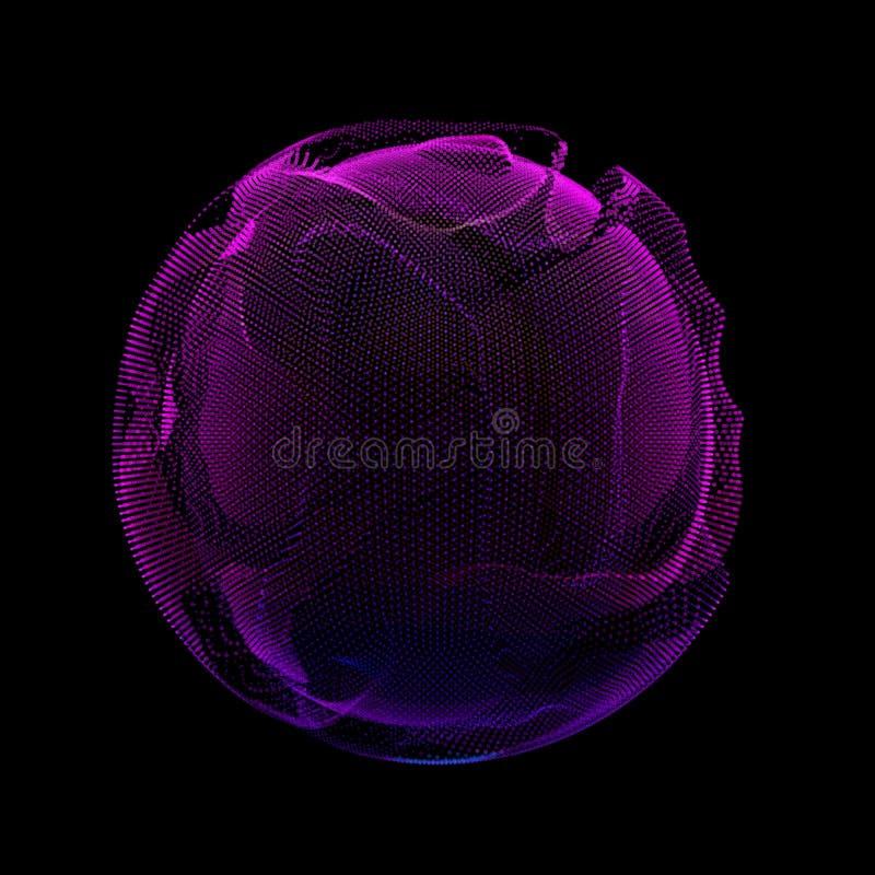 Esfera colorida violeta da malha do vetor abstrato no fundo escuro Cartão futurista do estilo ilustração royalty free