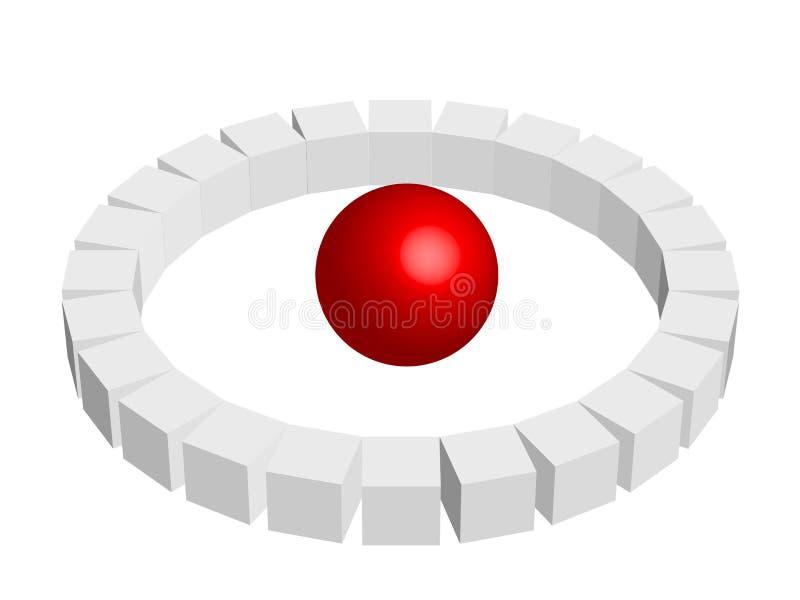 Esfera com cubos ilustração stock