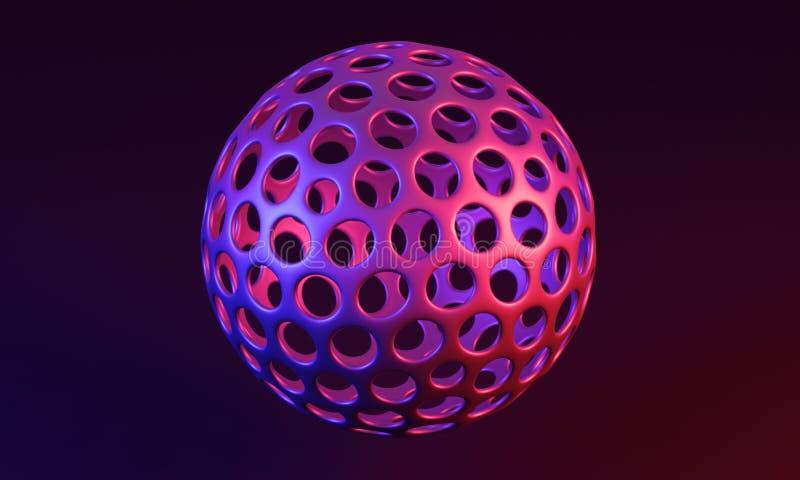 Esfera com furos redondos no de superfície - ilustração 3D ilustração do vetor