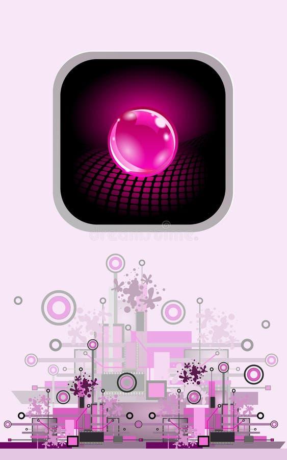 Esfera como o bot?o Fundo abstrato alta tecnologia ilustração royalty free