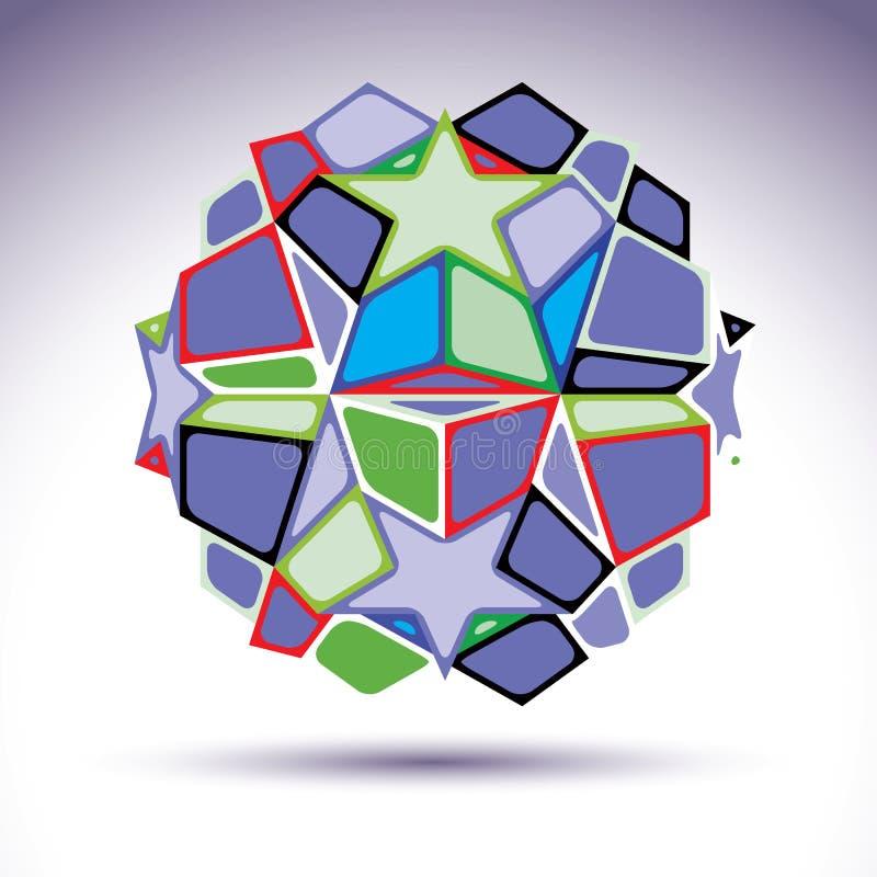 Esfera complicada do caleidoscópio 3d construída do geo colorido ilustração stock