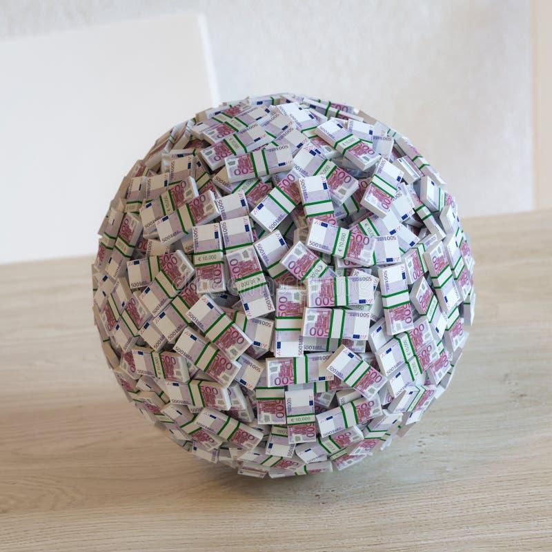 Esfera composta do dinheiro do Euro 500. fotos de stock