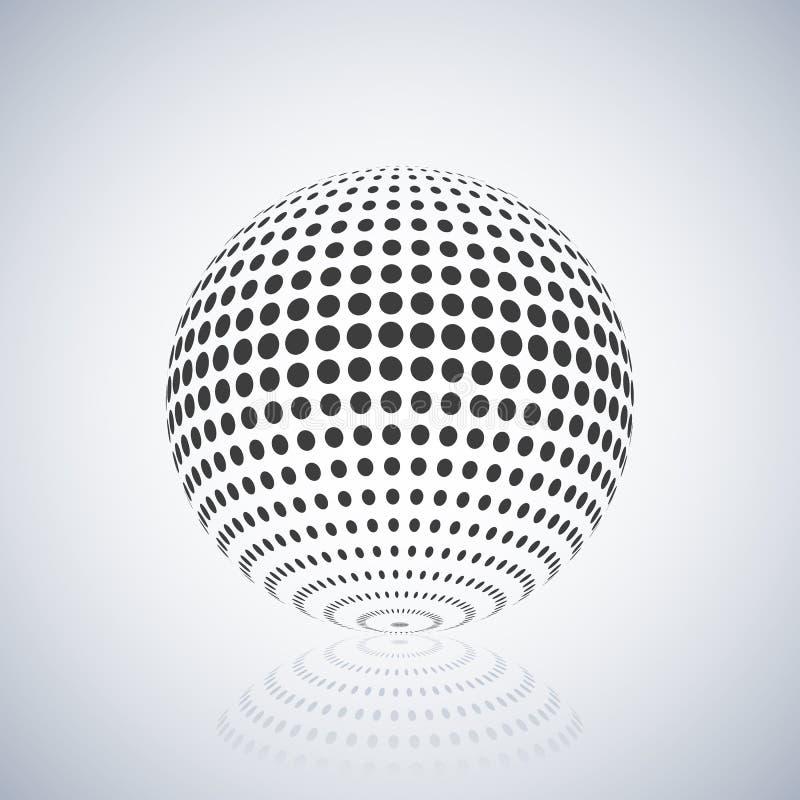 Esfera con el terraplén de semitono, ejemplo del vector ilustración del vector