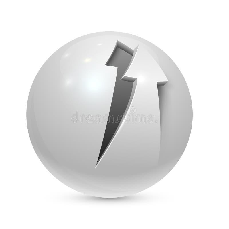 Esfera con la flecha pelada stock de ilustración