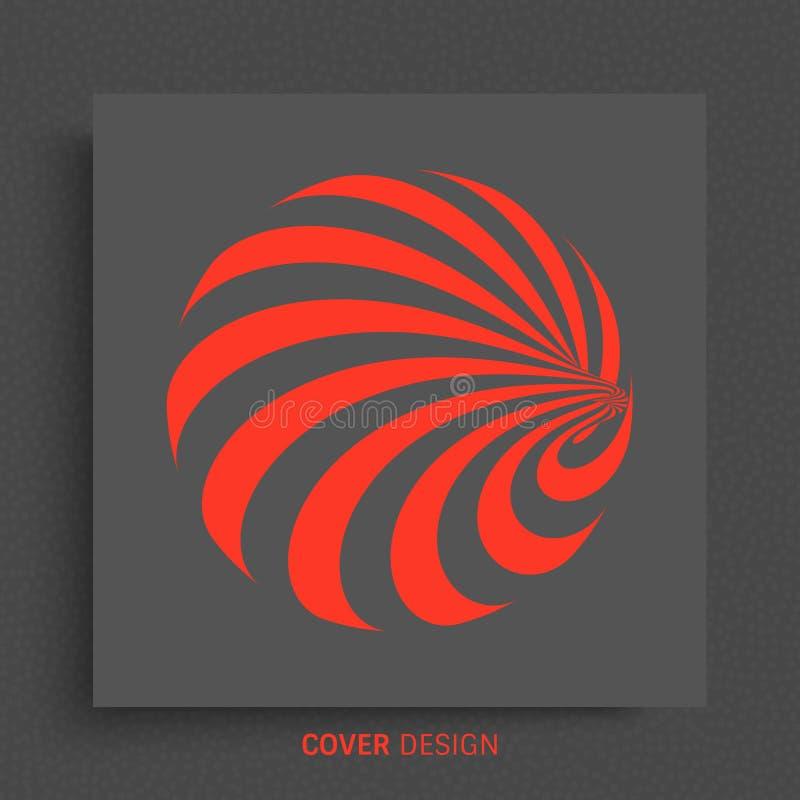 Esfera con las líneas Diseño negro y rojo Modelo con la ilusión óptica Fondo geométrico abstracto 3d Ilustración del vector stock de ilustración