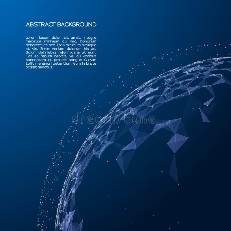 A esfera consiste em pontos e em linhas Malha abstrata do globo Vector a ilustração com grade colorida no fundo escuro ilustração stock