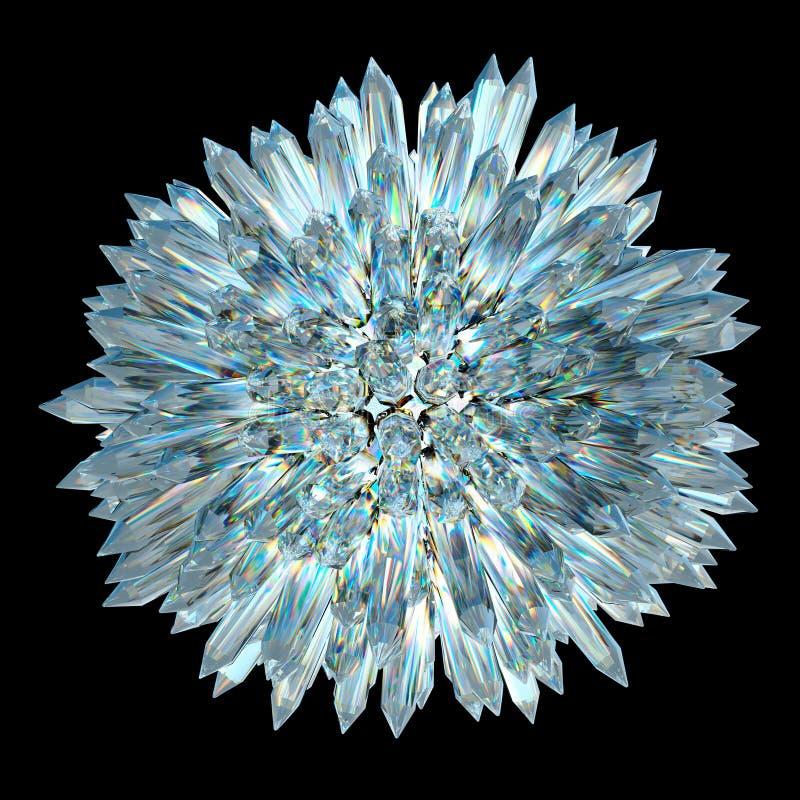 Esfera cristalina con las columnas agudas ilustración del vector