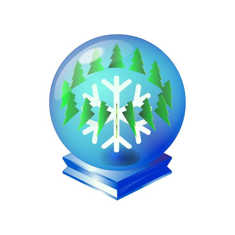 Esfera cristalina mágica azul del vintage de la Feliz Navidad con el árbol verde y ornamento del copo de nieve ligero Por el Año  ilustración del vector