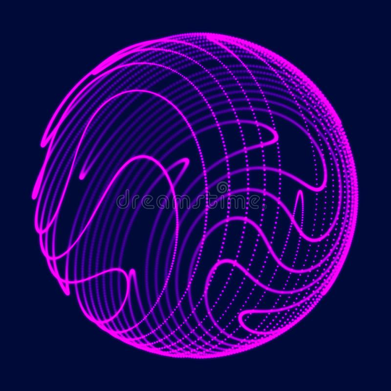 Esfera 3d abstrata Esfera com linhas da tor??o Linhas de incandesc?ncia que torcem o projeto do logotipo Objeto do espa?o Estilo  ilustração royalty free