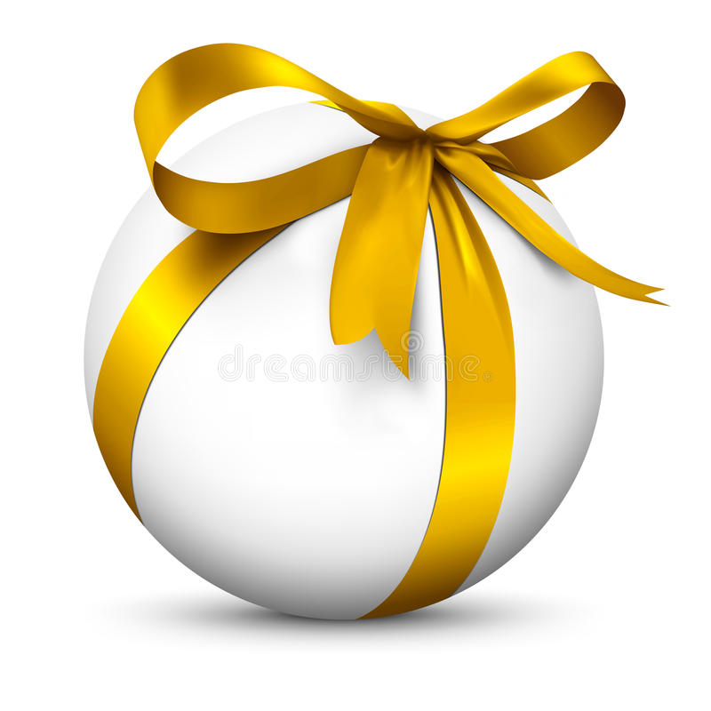 Esfera 3D branca com pacote dourado envolvido bonito do presente da fita ilustração do vetor