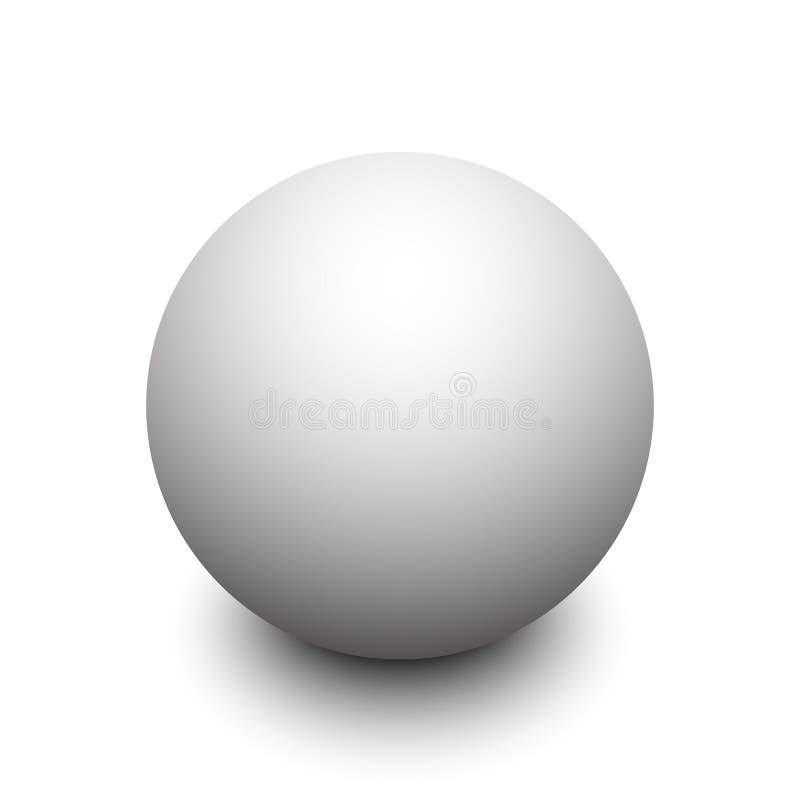 esfera 3d branca com sombra ilustração stock