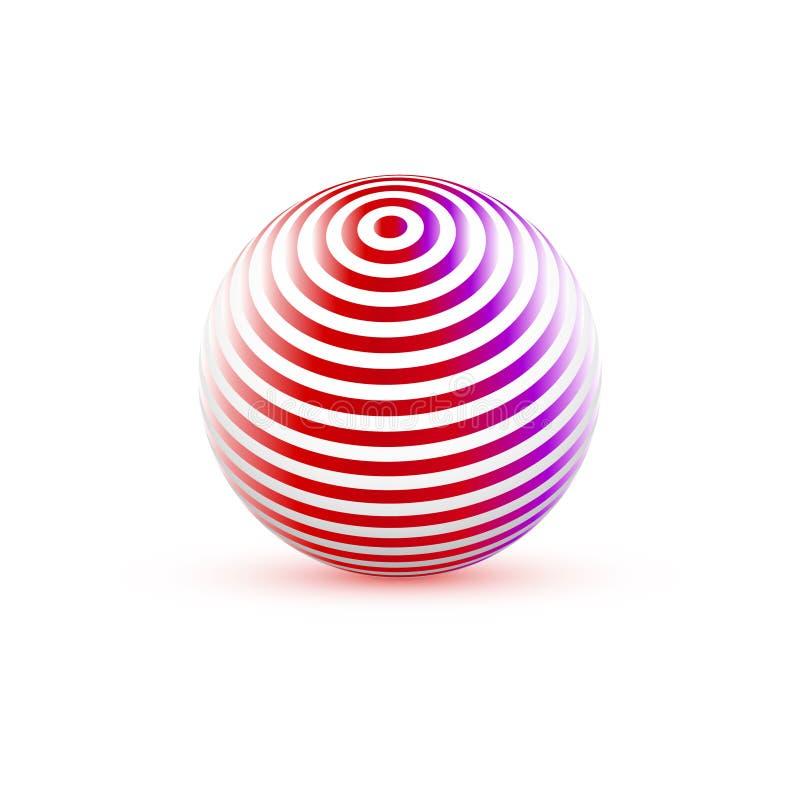 esfera 3d com textura Bola isolada no fundo branco Vetor ilustração royalty free