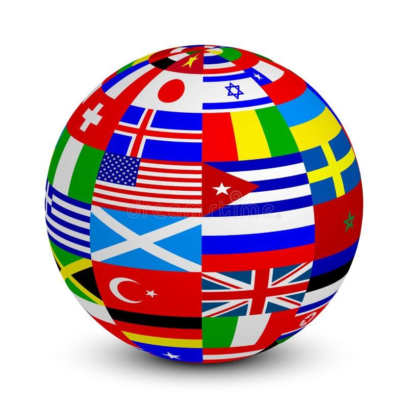 esfera 3d con las banderas del mundo ilustración del vector