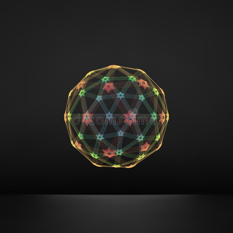esfera 3D Conexões digitais globais Conceito da tecnologia Ilustração do vetor Objeto de Wireframe com linhas e pontos ilustração royalty free