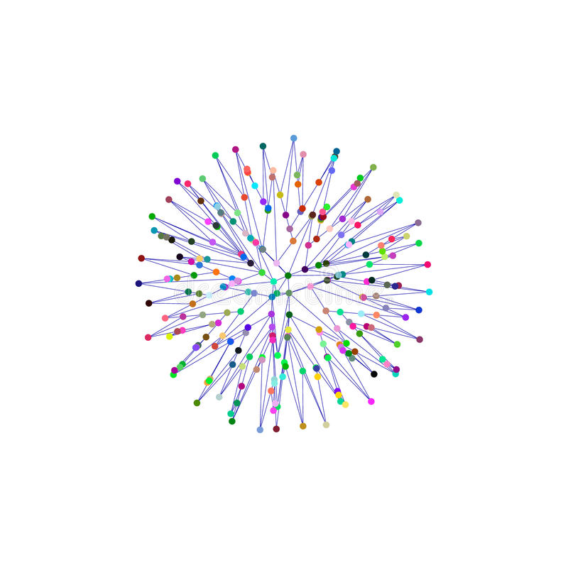 esfera 3d das linhas e dos pontos Isolado no fundo branco ilustração do vetor