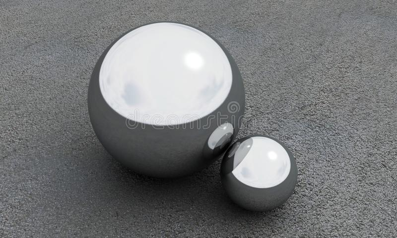Esfera 3d del metal rendir en fondo del asfalto imágenes de archivo libres de regalías