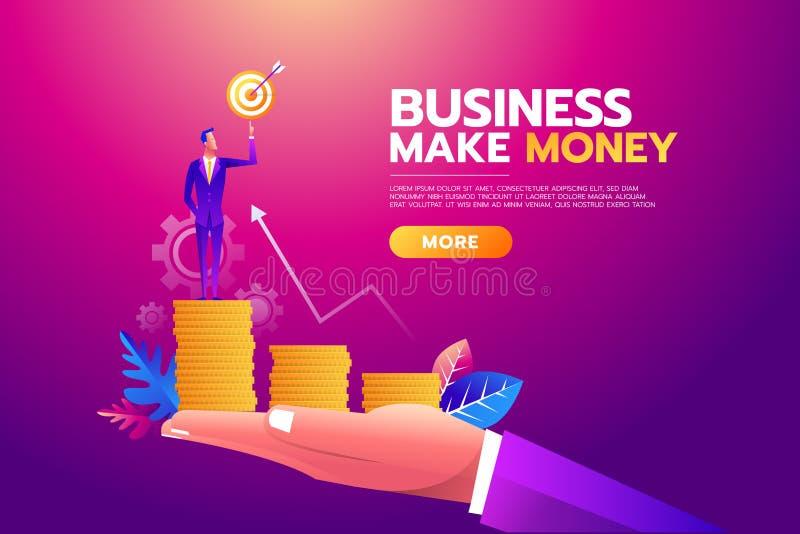 Esfera 3d diferente Alvo do objetivo da terra arrendada do homem de negócios, pasta completamente do dinheiro, todos os alvos con ilustração stock