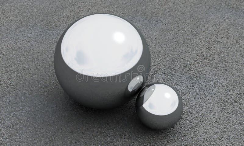 Esfera 3d do metal para render no fundo do asfalto imagens de stock royalty free