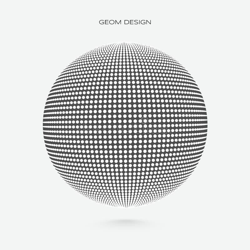 esfera 3d feita da partícula branca Ilustra??o do vetor ilustração stock
