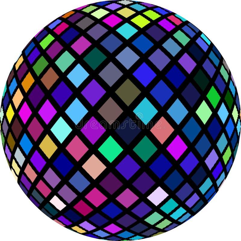 a esfera 3d multicolorido vislumbra o mosaico de cristal ?cone isolado Elemento festivo abstrato Teste padrão roxo verde azul da  ilustração stock