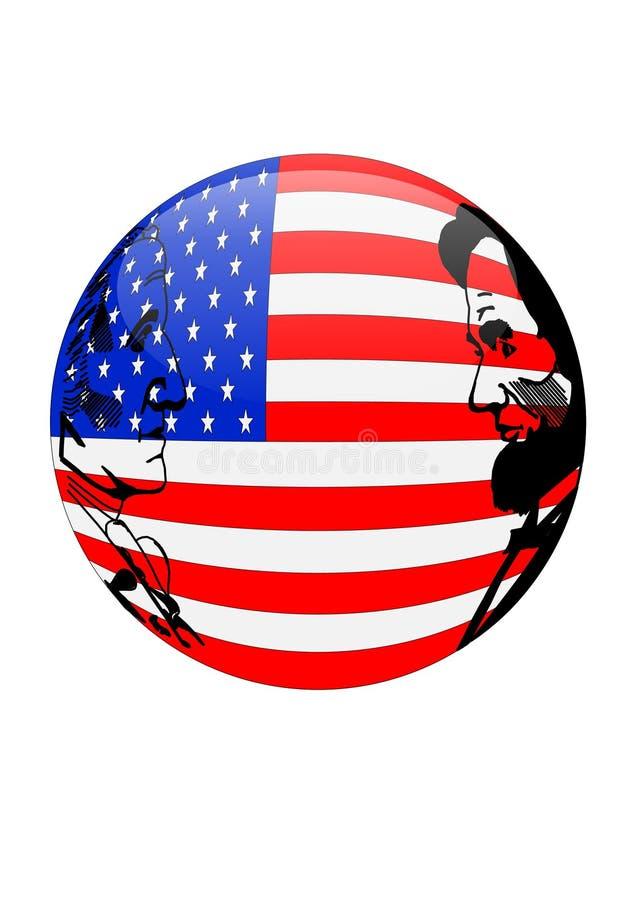 Esfera da bandeira americana dos presidentes Dia isolada ilustração royalty free