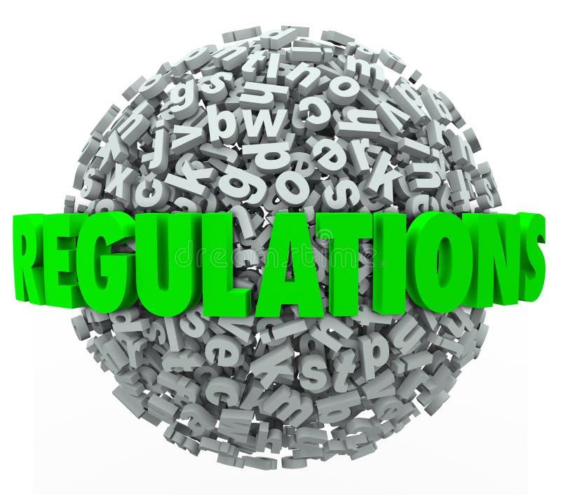 A esfera da bola da letra da palavra dos regulamentos ordena diretrizes das leis ilustração stock