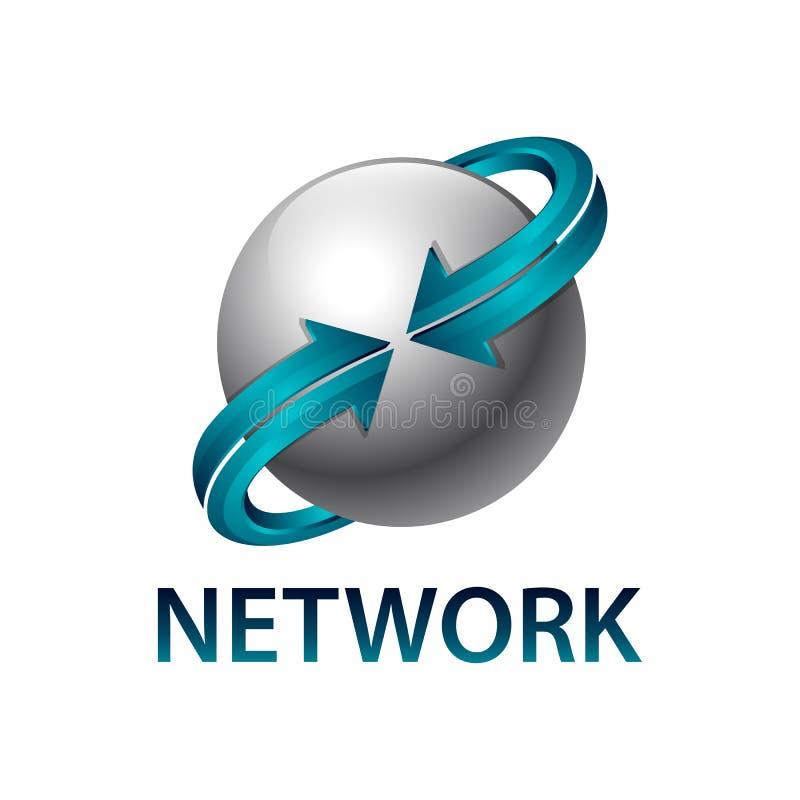 Esfera da rede para girar o molde azul do projeto de conceito do logotipo da seta ilustração stock
