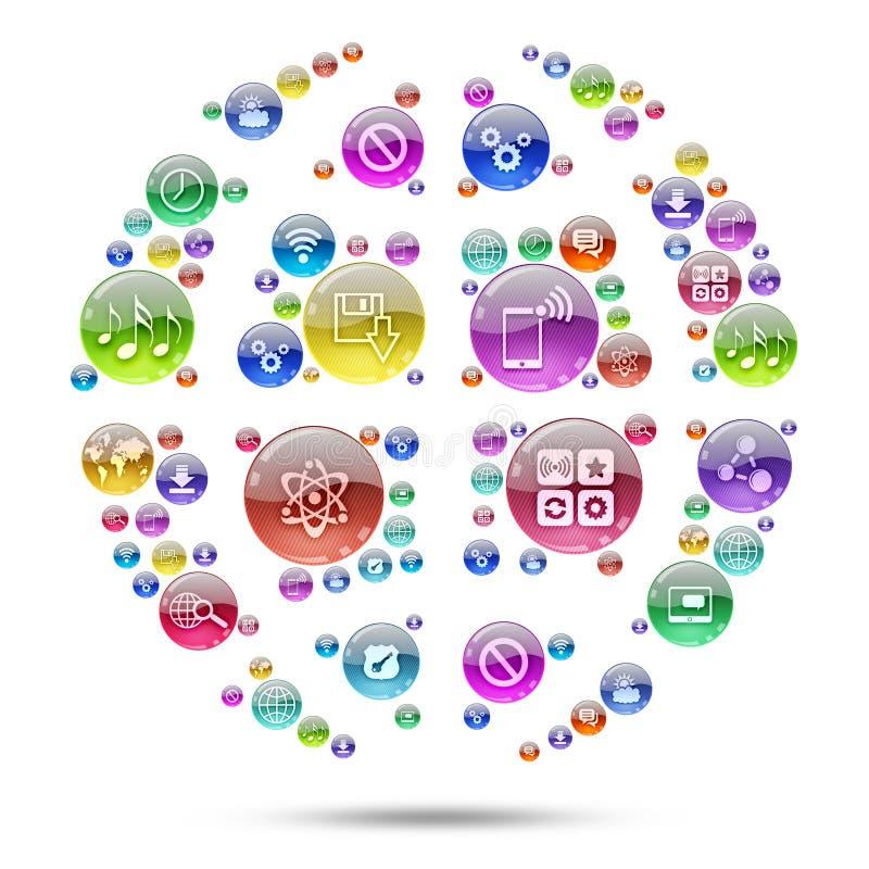 Esfera da silhueta que consiste em ícones dos apps ilustração do vetor