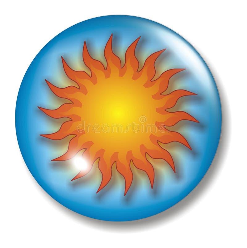 Esfera da tecla de Sun do céu azul ilustração royalty free
