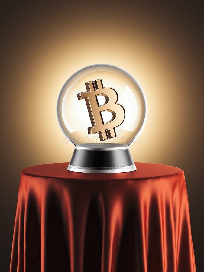 Esfera das previsões com símbolo do bitcoin para dentro rendição 3d ilustração royalty free